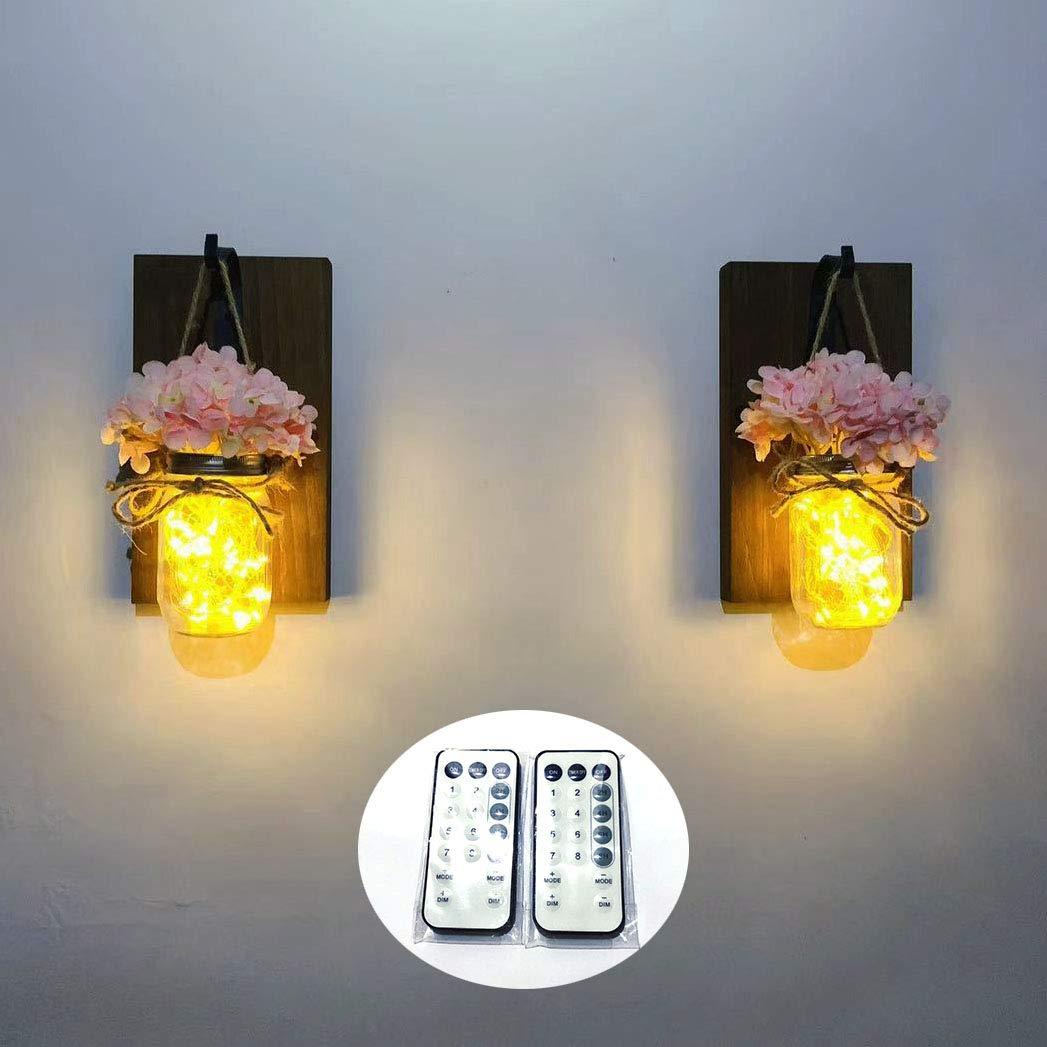 Yonor Set of 2 Intelligentized LED Rustic Home Decor Flowers, Rustic Walnut Decorative Sign LED Fairy Lights, Mason Jar, Wrought Iron Hooks, Hydrangea Flower (Walnut, Pink)