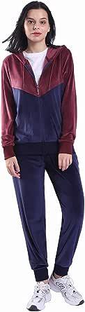 Womens Sweatsuit 2 Piece Casual Velvet Zip Up Hoodie Sweatshirt and Sweatpants Athletic Clothing Sets