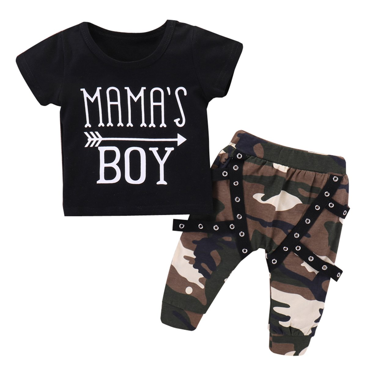 Infant Toddler Boy Summer Camo Outfits Letters T-Shirt + Camouflage Pants Set