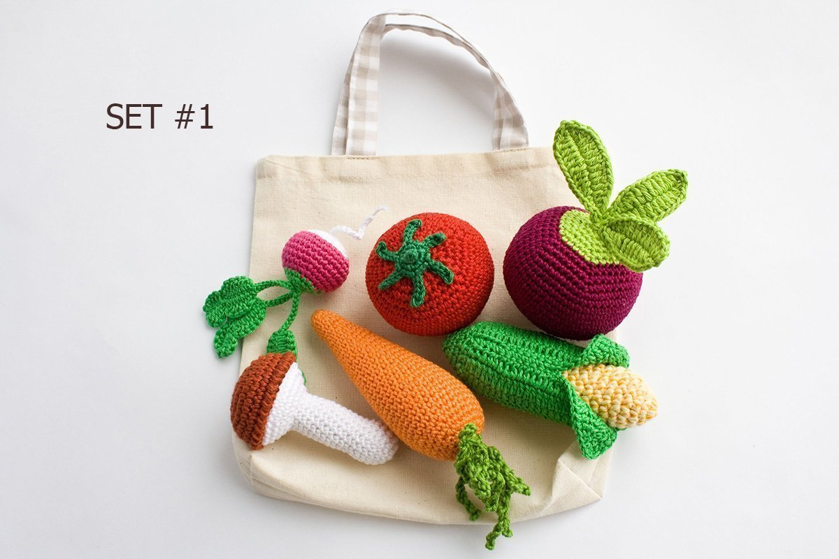 Crochet Rattle Toys - Vegetables (Set of 5 or Set of 6)