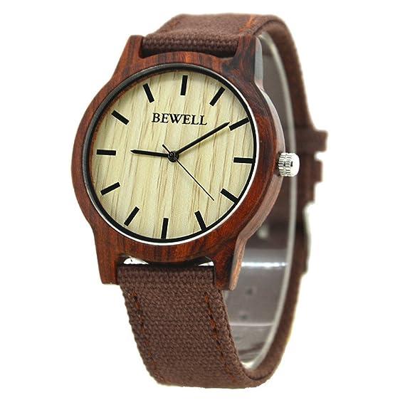 Bewell - Reloj Madera Bisel Reloj de Cuarzo Correa de Hombres Mujeres Lienzo Japón Movt Reloj de Pulsera: Amazon.es: Relojes