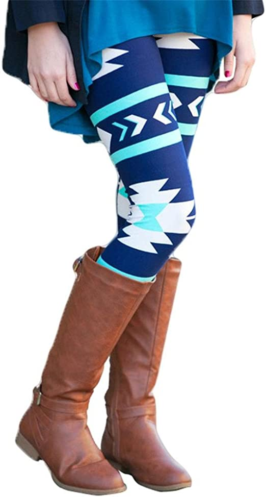 Fashon Women Leggings Geometric Print Stretchy Casual Skinny Leggings Pants