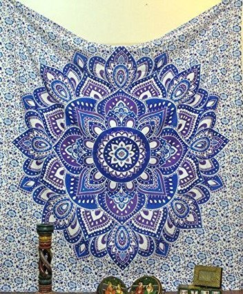 Purple Hippie Mandala Bohemian Tapestry Wall Hanging Psychedelic Wall Art Dorm Decor Indian Bohemian bedspread Bedding Bed Cover Large Table Runner Beach Throw Indian Wall Tapestries (Blue Tapestry Throw)
