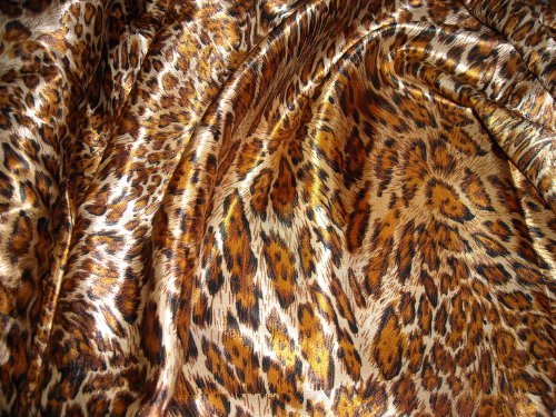 Animal Skin Prints (Feline Fancy Animal Skin Leopard Print Amber Silky Satin Charmeuse 100% Polyester 60
