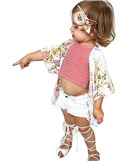 ee72f9ebbde48b Amazon.com: Baby Girl Floral Print Jacket Tassel Chiffon Kimono ...