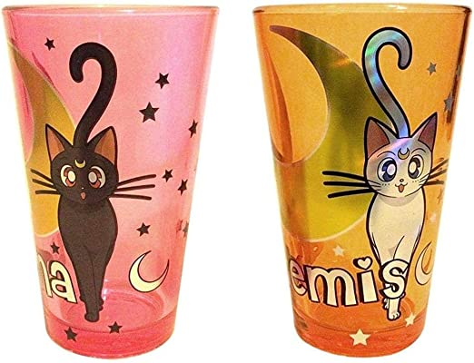 Amazon.com | Sailor Moon Artemis & Luna Foil Pint Glass Set ...