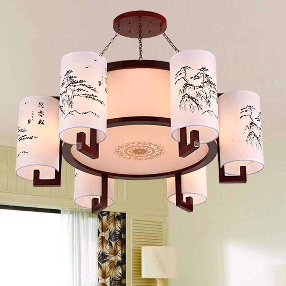 マルチヘッドウッドアートシャンデリア、シンプルダイニングルームカフェデコレーションペンダントライト、リビングルームの寝室ランプ GAOLIQIN (色 : 白) B07JY7CJWL 白