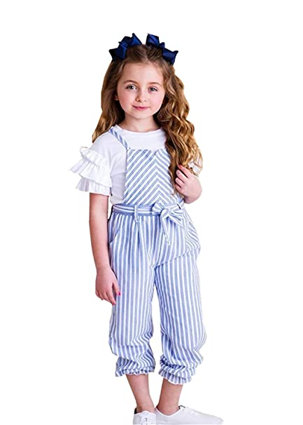 top-rated official incredible prices huge inventory Toddler Girl One Piece Clothes, Baby Girls Cute Pants Bowknot Strap Stripe  Romper Jumpsuit Top Outfits Clothes Set
