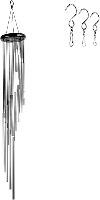 Epartswide Wind Chimes for Outside, 36 Inches Wind Chimes with 18 Aluminum Alloy Tubes Memorial WindChimes with 3 S Hooks Outdoor Decor for Mom Home Garden Yard (Silver)