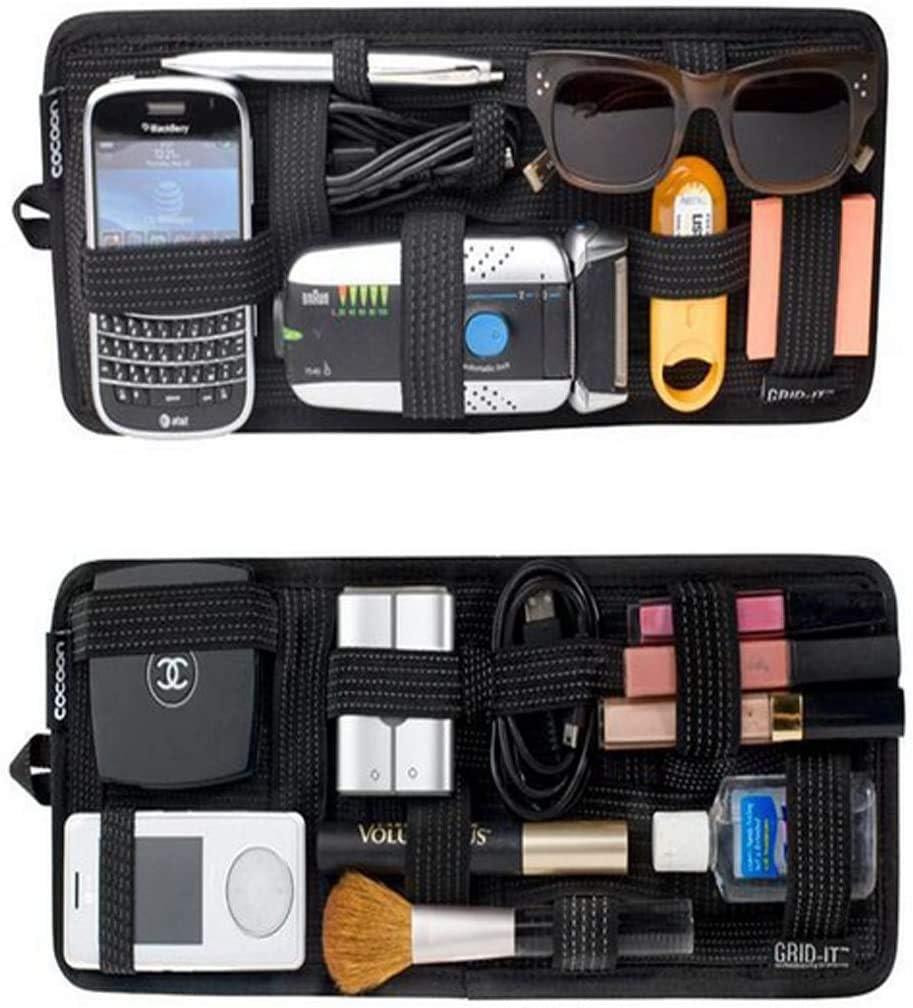 Jiahg Auto Sonnenblende Tasche Kfz Organizer Mehrzweck Anti Rutsch Elastische Auto Aufbewahrungstasche Cd Tasche Für Handys Sonnenbrillen Kopfhörern Auto