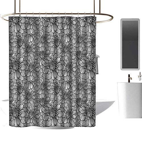 """TimBeve Shower Curtain Liner Resistant Black and White,Botanical Gardening Plants Hand Drawn Style Dahlia Burst into Blossom,Black White,Washable, Eco-Friendly,for Bathroom Curtain 54""""x78"""""""
