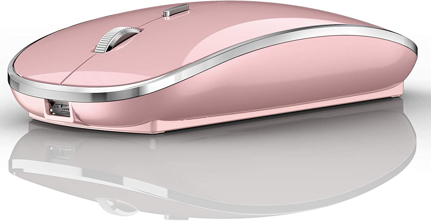 Bluetooth Wireless Mouse for Laptop MacBook pro iPad pro iPad Air MacBook Air Mac Chromebook Computer Win7/8/10 Laptop PC (Electroplated Frame Silver) (Rose Gold)