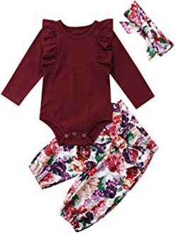 De feuilles Toddler Baby Girls Long Sleeve Knitted Sweater Romper Ruffle Bodysuit Jumpsuit