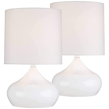 Mid Century Modern Accent Table Lamps 14 3/4  High Set of 2 Steel Droplet White Drum Shade for Bedroom Bedside - 360 Lighting