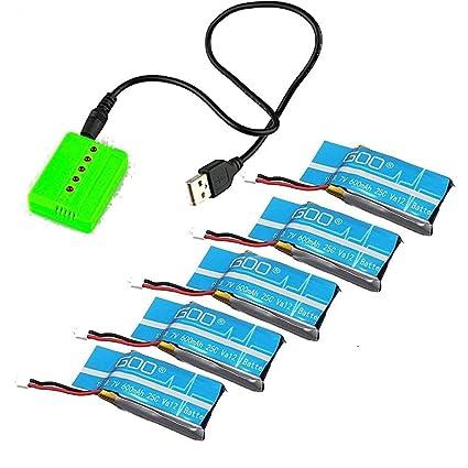 Amazon.com: uumart 5pcs 3.7 V 600 mAh 25 C Lipo batería con ...