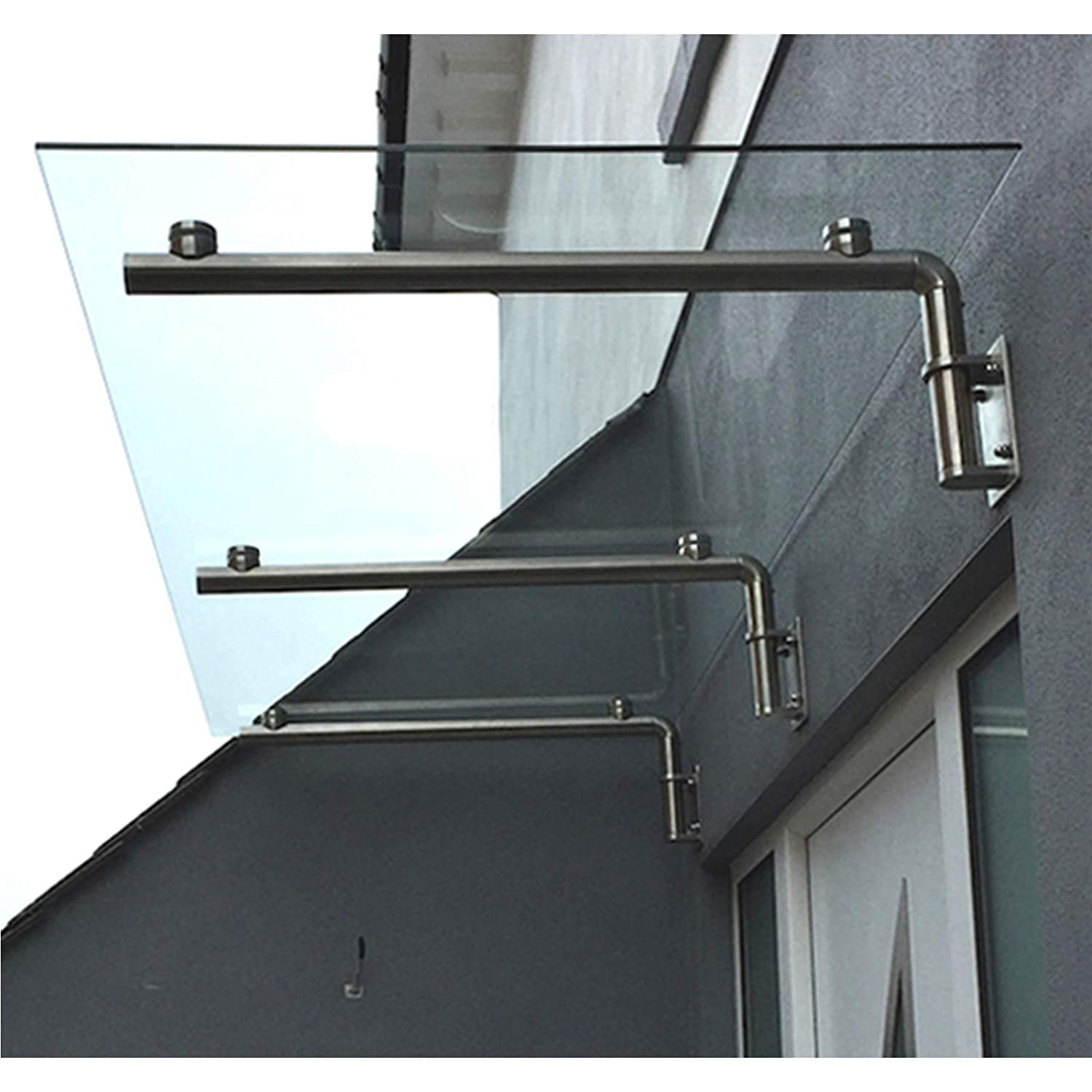 MonsterShop 1440 x 800mm Glass Canopy, 4 Stainless Steel Brackets,  Front/Back Door Porch Shelter