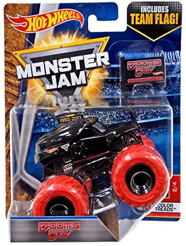 2017 Hot Wheels Monster Jam 1:64 Scale with Team Flag – Dooms Day 2/4 color treads