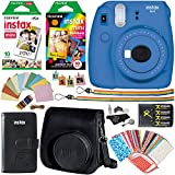 Fujifilm Instax Mini 9 Instant Camera (Cobalt Blue), 1 Rainbow Film Pack, 1 Single Pack (White) Instant Film, case , 4 AA Rechargeable Battery's with charger, Square Photo Frames & Accessory Bundle