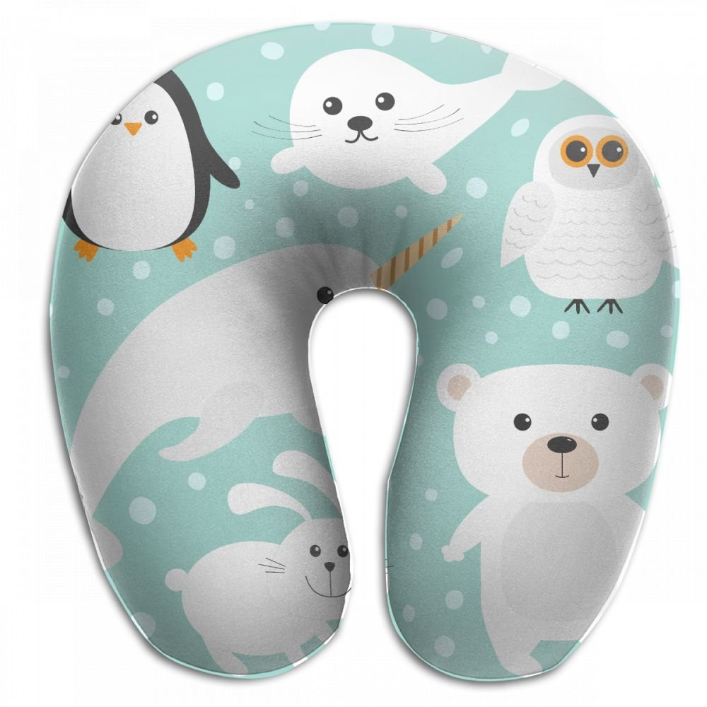 Raglan Carnegie Animal White Polar Bear Neck Head Support Travel Rest U Shaped Pillow for Airplane Train Car Bus Office