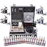AW Professional Complete Tattoo Kit 4 Machine 40 Ink Gun Power Supply Grip Tip Foot Switch Set