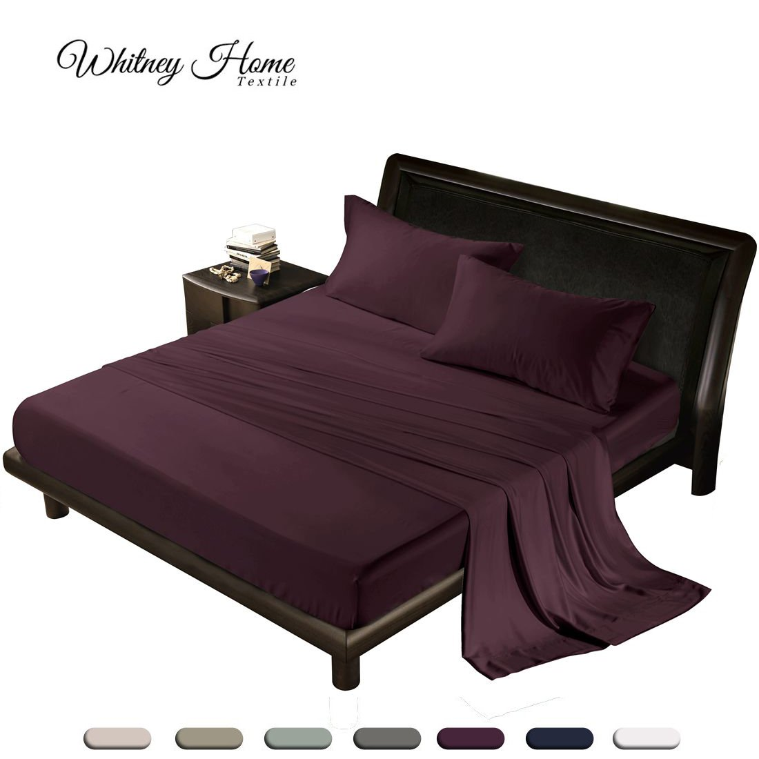 Natural Quality 100% Tencel from Eucalyptus Wood Pulp Bed Sheet 4-Piece Set - Eco-friendly, Refreshing & Silky Soft Fiber, Hypoallergenic, Mist & Odors Resistant Bedding, Burgundy King by Whitney Home Textile (Image #1)