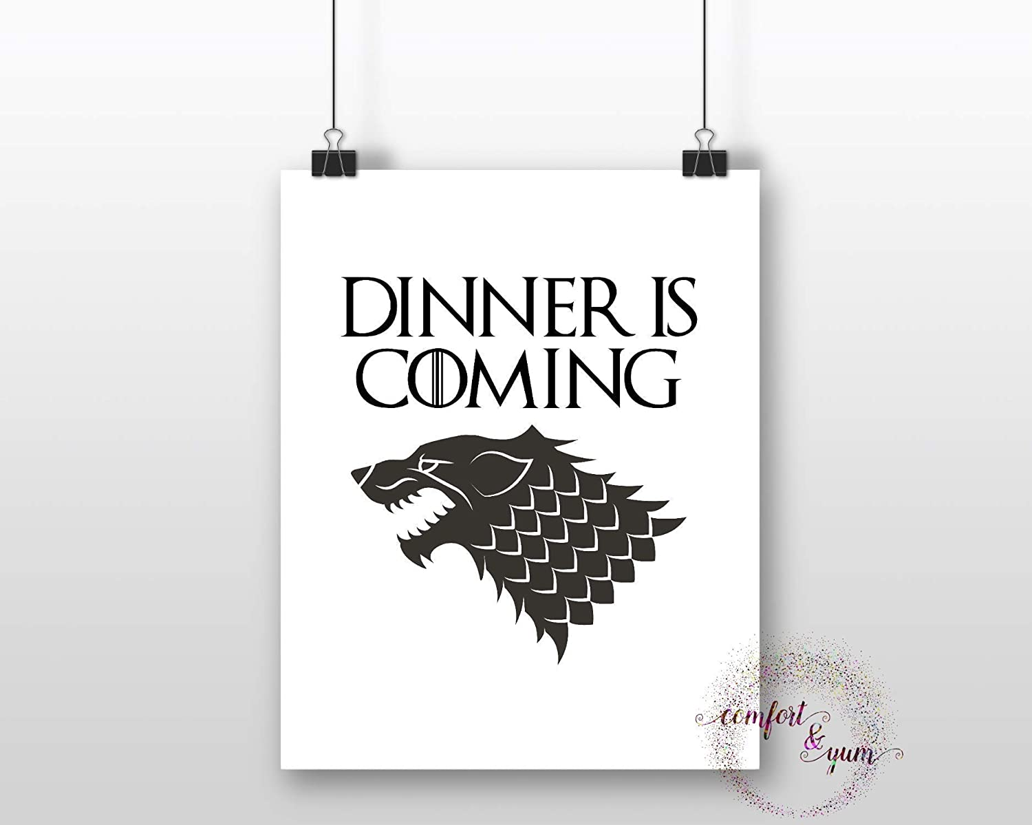 Dinner is Coming with Wolf Insignia Game of Thrones House Stark Instant Pot Instapot Pressure Cooker Crock Pot Decal Sticker Pun