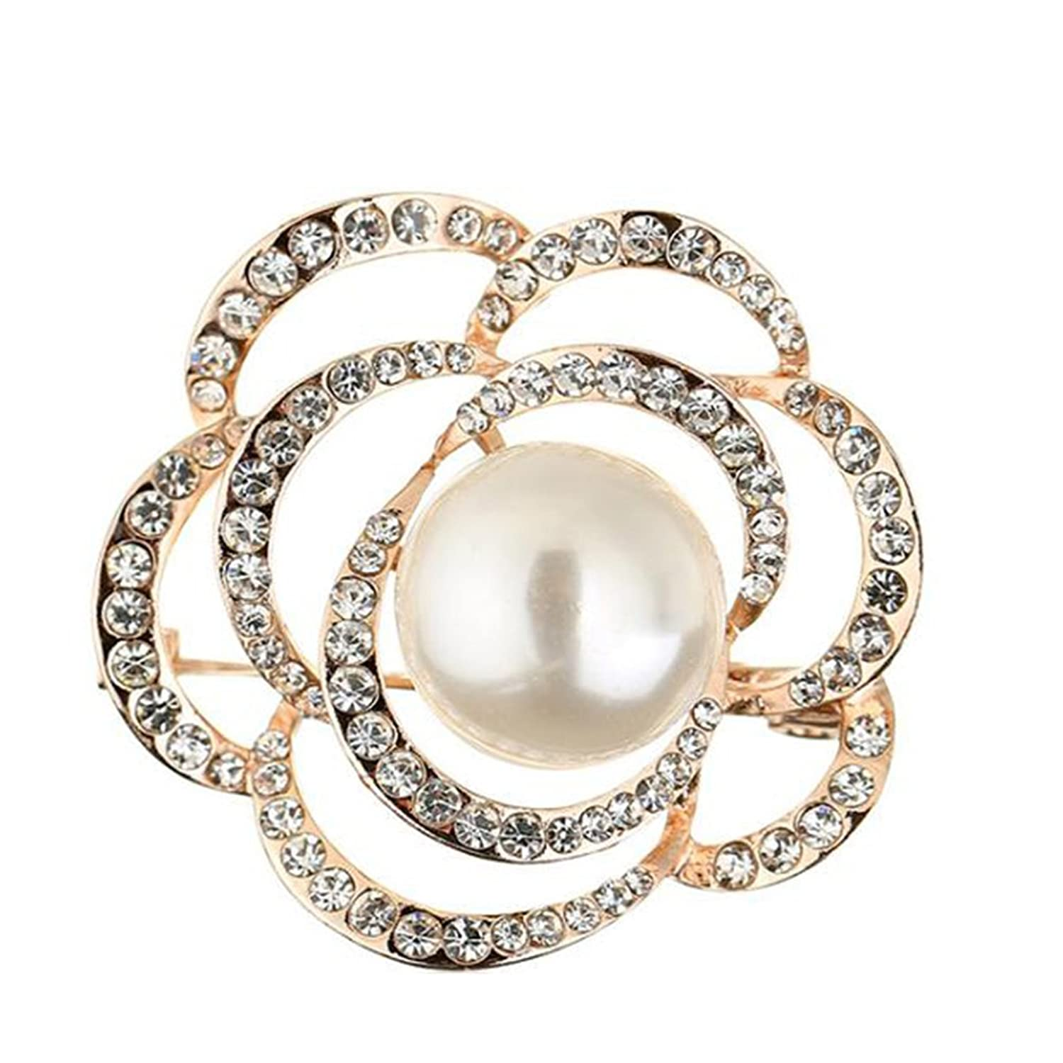 Demarkt Fashion Pearl Rose Brooch Pin Party Accessory Dress Clothing Pin,Gold