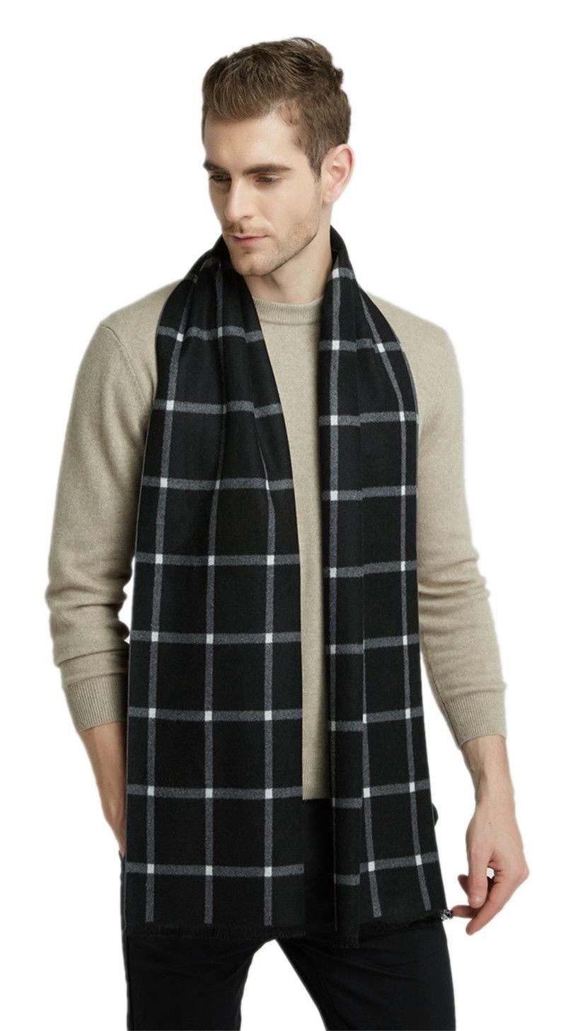 Scarf for Men Black Plaid Warm Cashmere Feel Man Scarves Winter (Black)