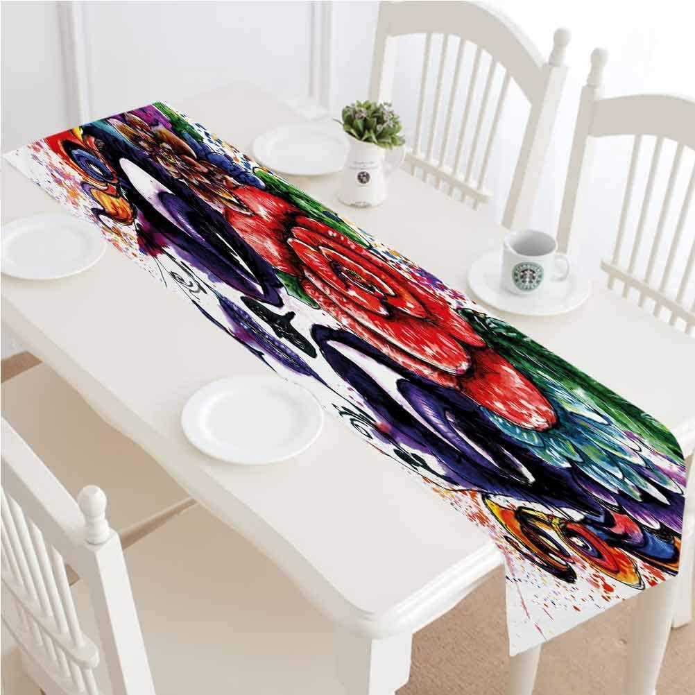 Sugar Skull Dining Table Runner,Watercolor Painting Style Girl Face with Make Up and Floral Crown Big Eyes Kitchen Rectangular Runner,14x72 Inch,for Dining Farmhouse Outdoor Picnics Table Multicolor