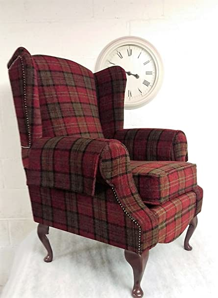 Well-known Wing Back Queen Ann Cottage Chair Red Lana Tartan: Amazon.co.uk  ZX88