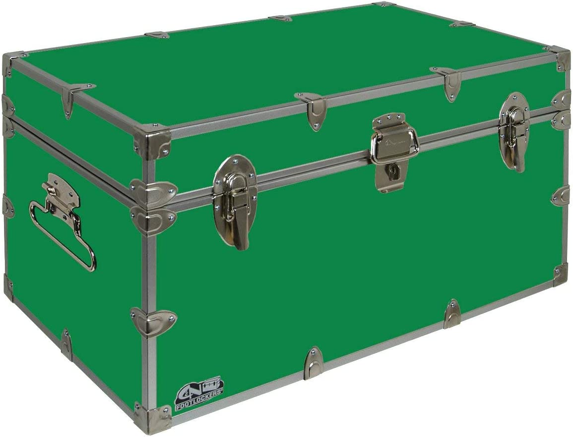 C&N Footlockers UnderGrad Storage Trunk - College Dorm Chest - Durable with Lid Stay - 32 x 18 x 16.5 Inches (Kelly Green)