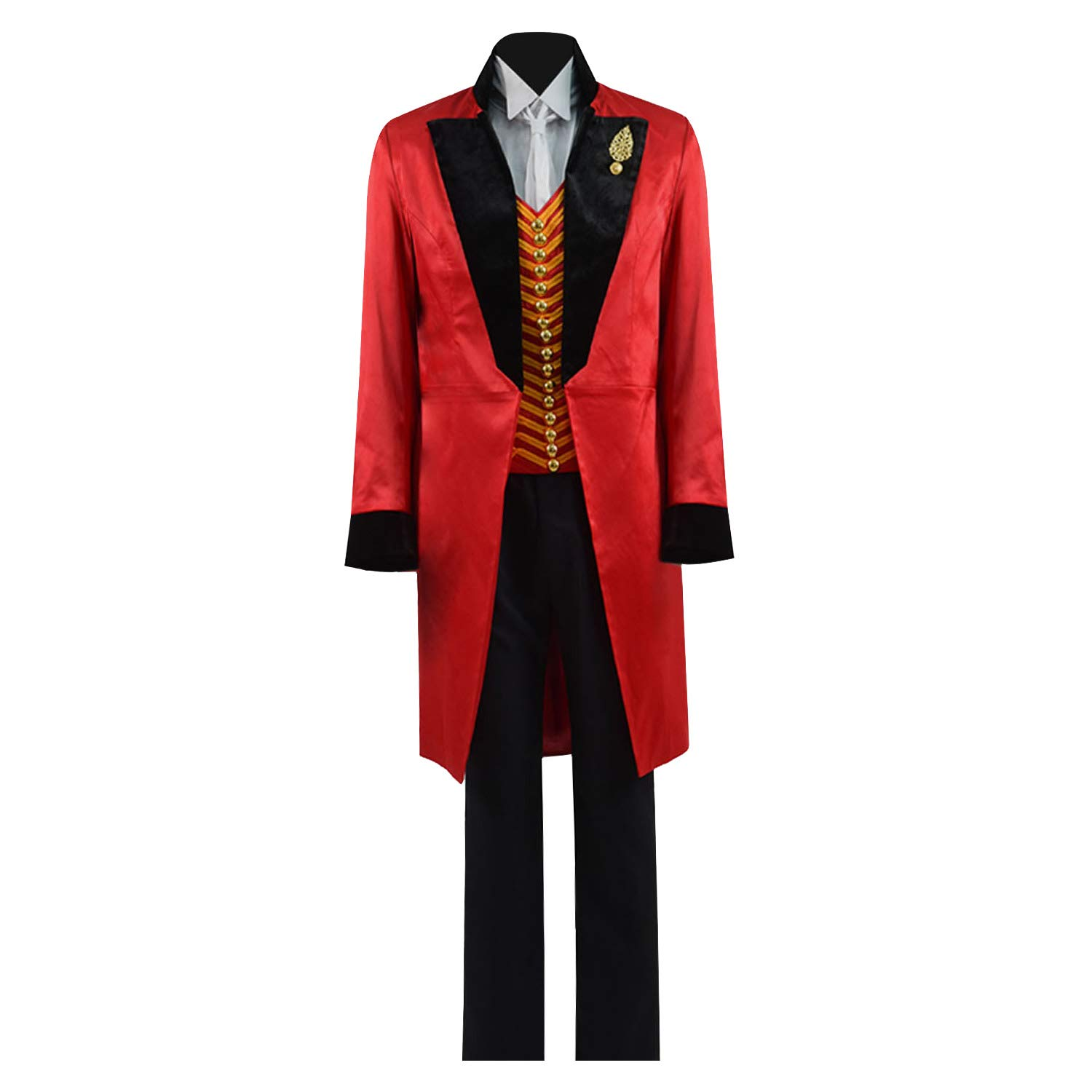 Greatest PT Barnum Cosplay Costume Performance Uniform Showman Party Suit (X-Large, Red Black)