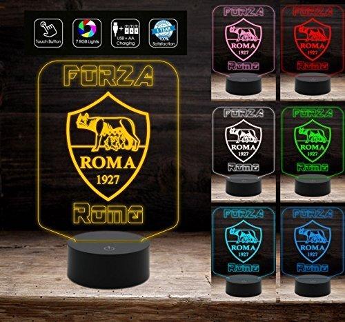 Forza Roma Lampada led luce da notte 7 colori Idea regalo casa calcio compleanno a batteria + cavo micro USB da tavolo o scrivania Decorazione della casa Night Light