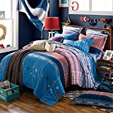 Bedding Duvet Cover Sets Cotton Home Collection Decor For Adult Children Kids Boys Girls Teen Dorm 4Pcs Quilt Cover×1,Flat Sheet×1,Pillowcases×2 Wedding Thanksgiving Christmas Birthday Gift,King 2202