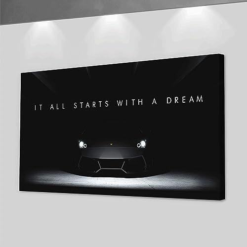 Lamborghini Dreams Office Decor Motivational Wall Art Canvas Print Inspirational Quote Supercar 24″ x 48″