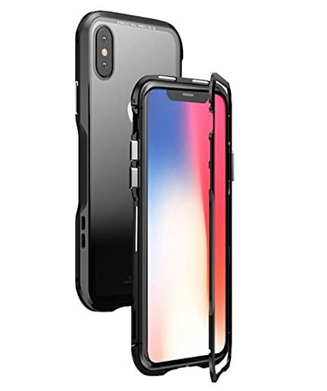 san francisco cf9fb 59e81 for iPhone X Case.MACBOU Fashion Magnetic Adsorption Metal Tempered Glass  360° Full Protection Luxury Case Cover For iPhone X 10 (Black+transparent)