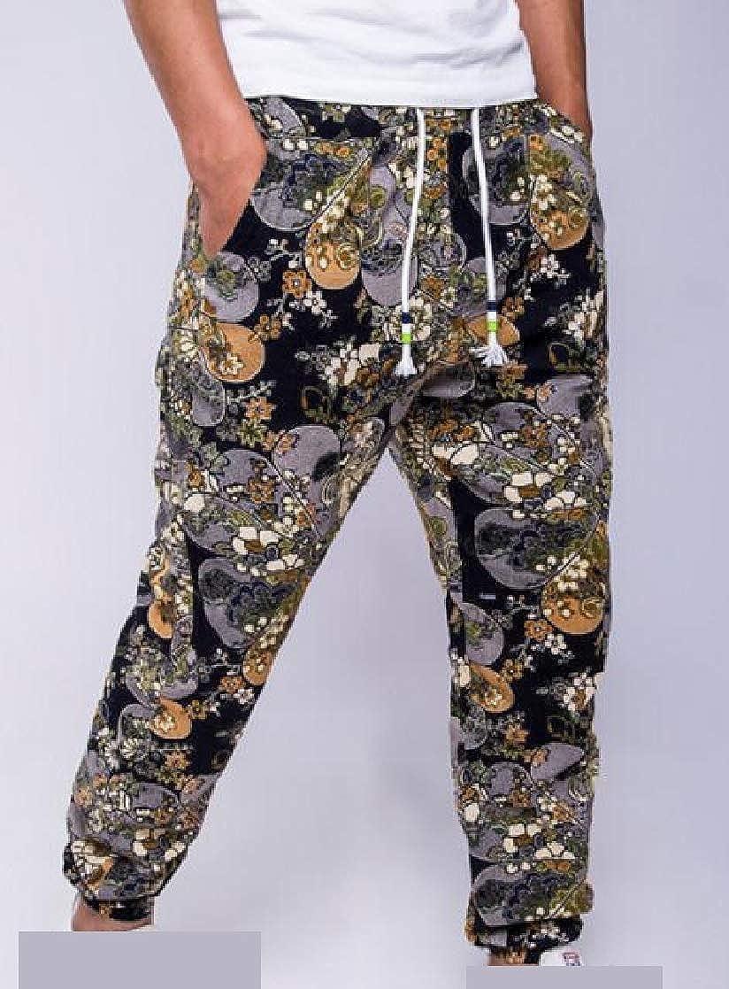 YUNY Mens Drawstring Waist Pockets Navajo Floral Loose Linen Casual-Pants 2 L