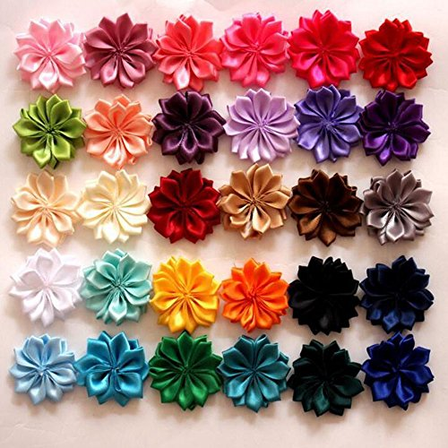 - 30 pcs Mix Color Satin ribbon fabric Flower Multilayers Flower for headbands Diy hair accessory