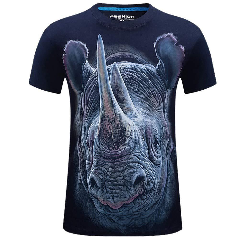 Pikolai Mens T-Shirts Fashion 3D Rhinoceros Print T-Shirts Funny Graphics Pattern Crewneck Casual Short Sleeve Tees A05