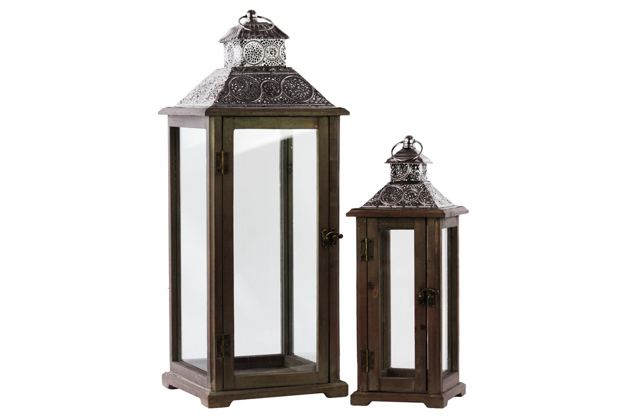 Urban Trends Wood Square Lantern with Silver Pierced Metal Top, Ring Hanger and Glass Windows Set of Two Stained Wood Finish Brown, Brown