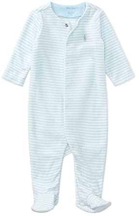 b5060867c906 Ralph Lauren Baby Boys Striped Velour Footed Coverall (Beryl Blue Multi