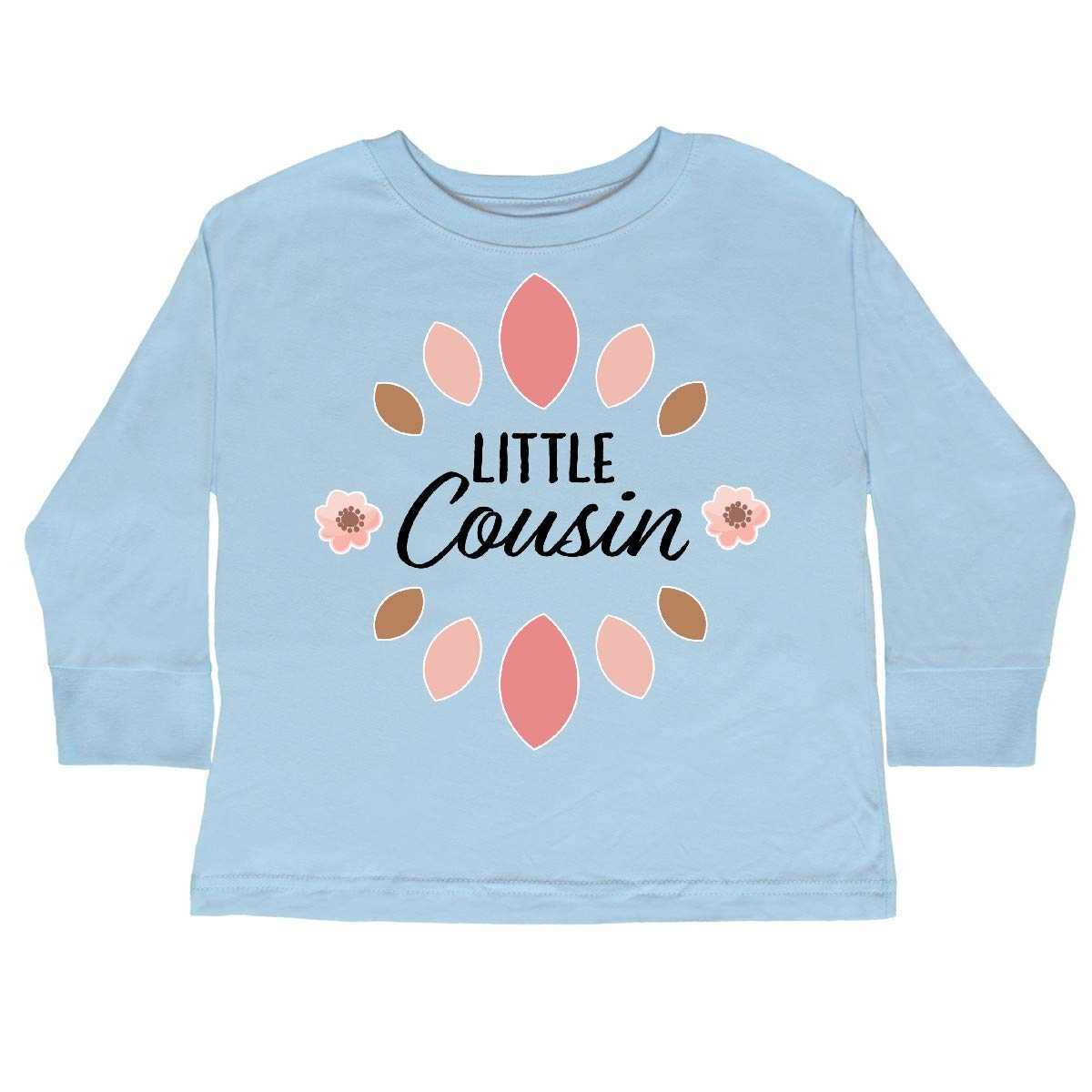 inktastic Little Cousin with Pink Flowers Toddler Long Sleeve T-Shirt