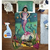 NEW! Dream Big Sea Princess 2-Piece Twin/Full Kids Bedding Set with Fabric Refresher