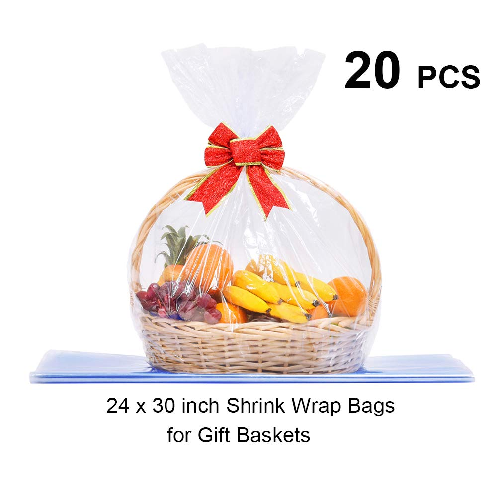 LazyMe Basket Cellophane Shrink Bags, 24x30 inch, Shrink Wrap Bags Large, Clear (20)