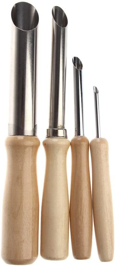 Whitelotous 4PCS Set Wood Handle Stainless Steel Clay Tools Hole Cutters Carving Tools Circular