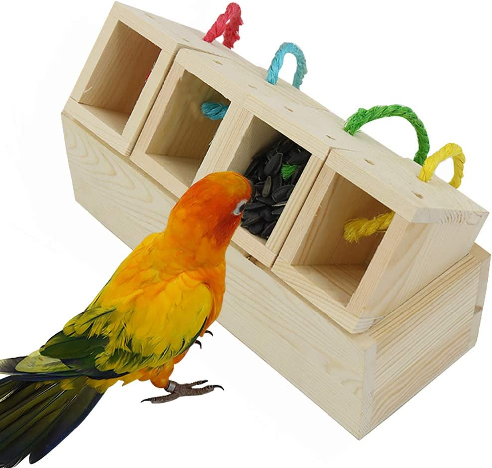 PIVBY Wooden Bird Foraging Feeder Toys Educational Training Creative Block Discolored Intelligence Toys for Parrot Parakeet Cockatiel Conure African Grey Cockatoo Macaw Amazon Budgie Lovebird Finch
