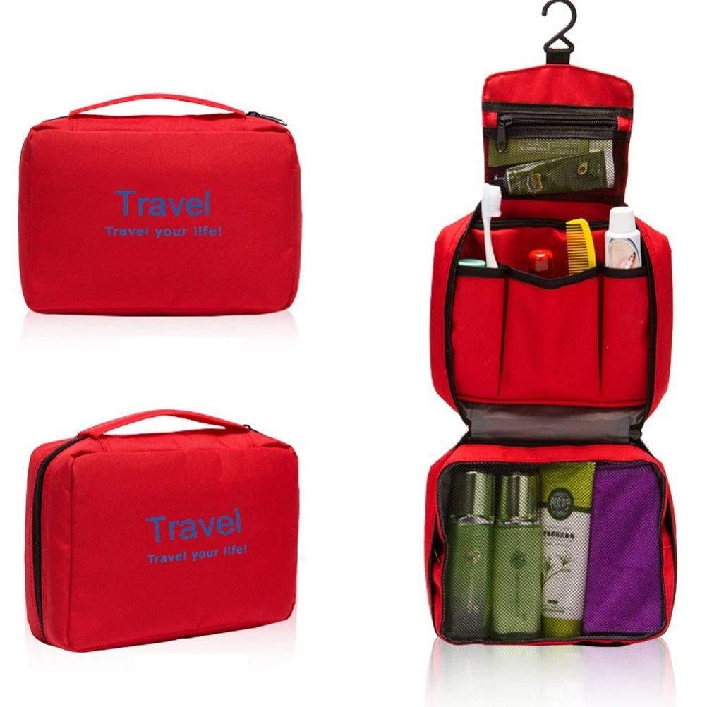 Tinksky Imperméable à suspendre Sac Trousse de Toilette Sac Voyage maquillage Sac pochette Organisateur (Rouge)