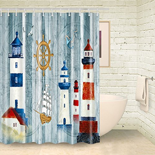 FOOG Lighthouse Shower Curtain Sets by Vintage Map Fabric Bathroom Pirateship Wheel Mildew Resistant Waterproof Machine Washable -White Blue Red (70x78 inch)