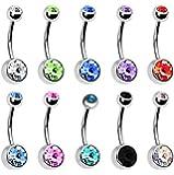 Vi.yo - gioiello da donna con piercing all'ombelico in acciaio inossidabile con 10 piercing all'ombelico, ipoallergenico