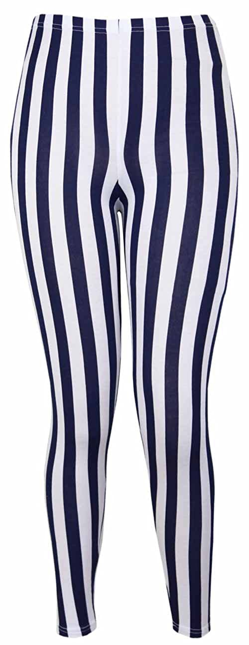 New Ladies Vertical Stripe Print Elasticated Waist Womens Patterned Long Stretch Fit Leggings Purple Hanger